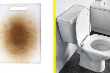 papan pemotong lagi kotor daripada mangkuk tandas